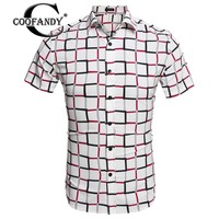 COOFANDY 2017 Autum Men Turn Down Collar Short Sleeve Plaid Casual Shirts Dress Shirt Men Retro