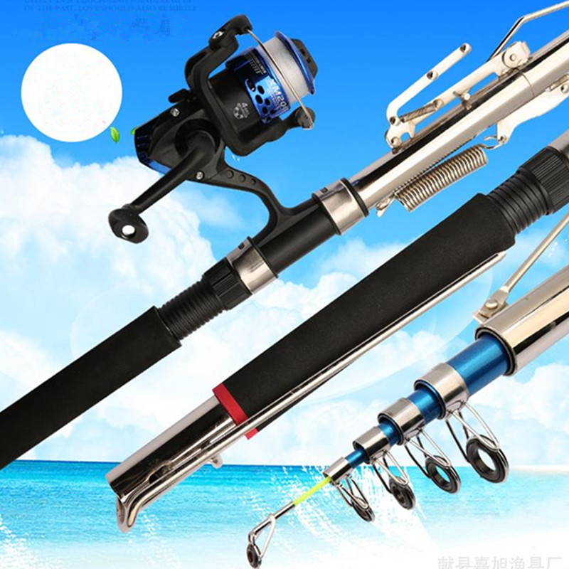 1 8M 2 1M 2 4M 2 7M Automatic Fishing Rod Spring Fold Spinning Sea River Lake Stainless Steel Fishing Rod Fish Tools THG1827 in Fishing Rods from Sports Entertainment