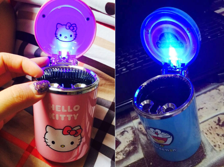 Cartoon Car Ashtray With LED Hello Kitty KT Accessories For Girls Boy Car Ash Tray Ashtray Storage Cup Holder Gifts Accessories