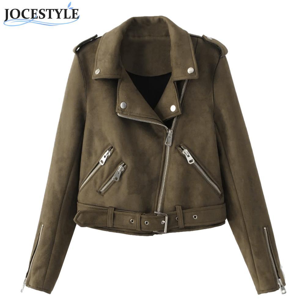 Women Zipper basic Suede Jacket Coat Casual Long Sleeve motorcycle <font><b>leather</b></font> jacket Women outwear belted short winter jackets