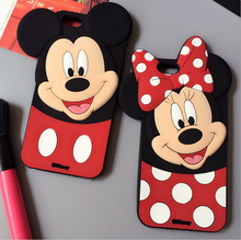 New Fashion 3D Cartoon Phone Cases Minnie Mickey Mouse Covers For Samsung S3 S4 S5 S6 S6Edge S7Edge NOTE34 A5 A7 Silicone Capas