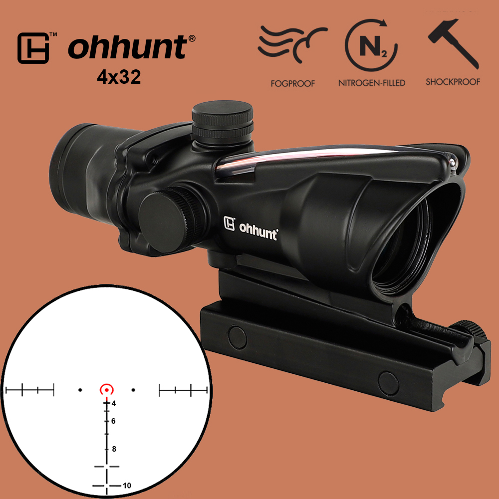 ohhunt Hunting 4X32 ACOG Real Fiber Scope BDC Chevron Horseshoe Reticle Tactical Optical Sights for cal