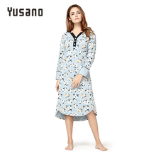 Yusano Women's Autumn Winter Nightgown Cotton Sleepwear Dress Nightshirt V-Neck Nightdress Long Sleeve Nightwear Home Dress