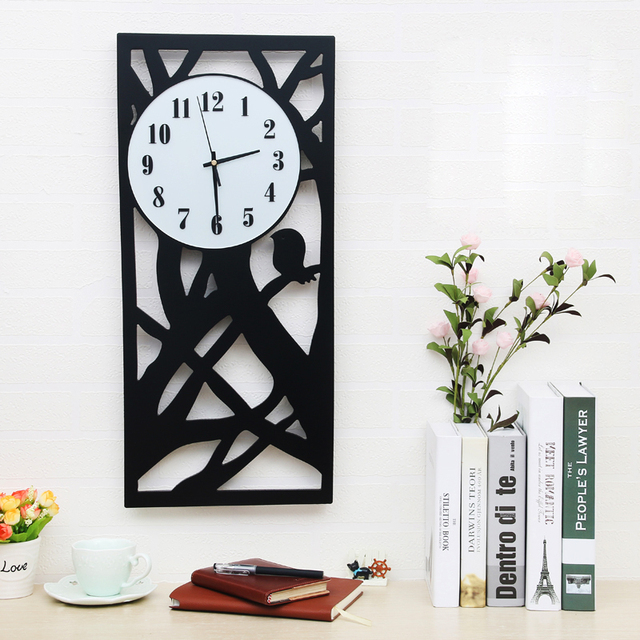 Size Wooden Wall Clock Living Room Black And White Children Large Home Decor