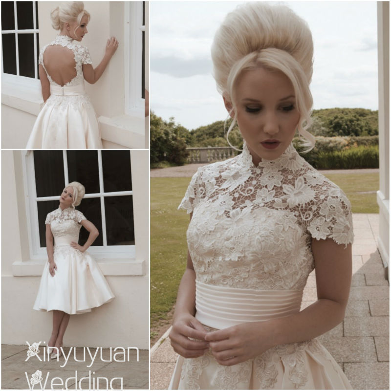 Romantic High Neckline Beach Wedding Dress Summer Wedding Bouquet