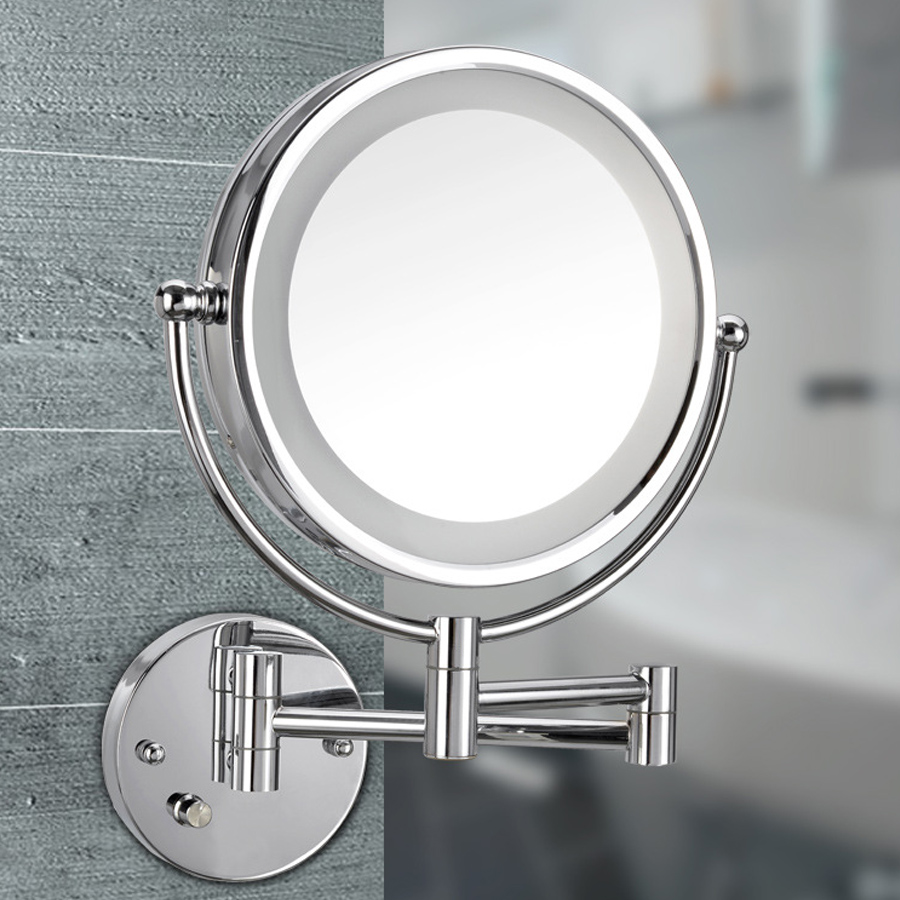 8.5 Inch Professional Makeup LED Mirror Wall Folding Portable Mirror Double Circular Definitio Cosmetic Mirror with Light vintage style portable folding airbag massage comb with mirror
