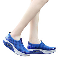 2018 Brand New Fashion Sport Shoes Breathable Slip On Rubber Women Outdoor Mesh Casual Sports Thick Soled Air Cushion Shoes