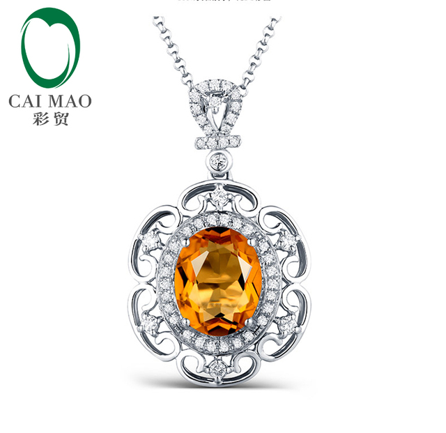 7x9mm Oval Cut 14kt White Gold 2.15ct Citrine & 0.28ct  Diamond Accented Engagement  Pendant free shipping