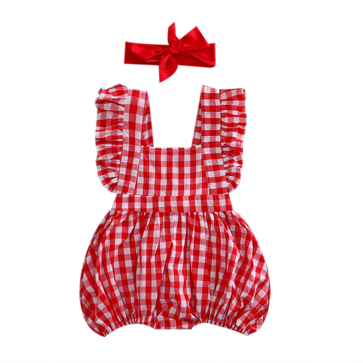 цены  2017 Summer Red Plaid Newborn Baby Girls Clothes Ruffled Baby Romper Jumpsuit +Headband 2PCS Outfits Sunsuit Children Clothing