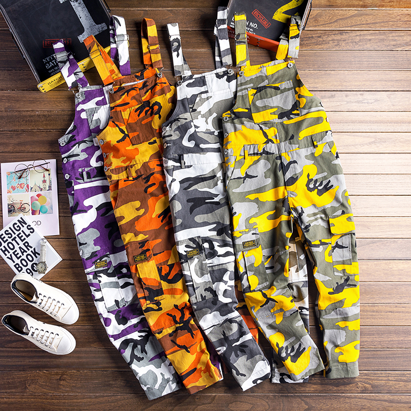 Men Camouflage Cargo Jumpsuits Male Baggy Camo Overalls Hiphop Suspender Harem Pants Streetwear Loose Stap Trousers D81202 Men's Clothing