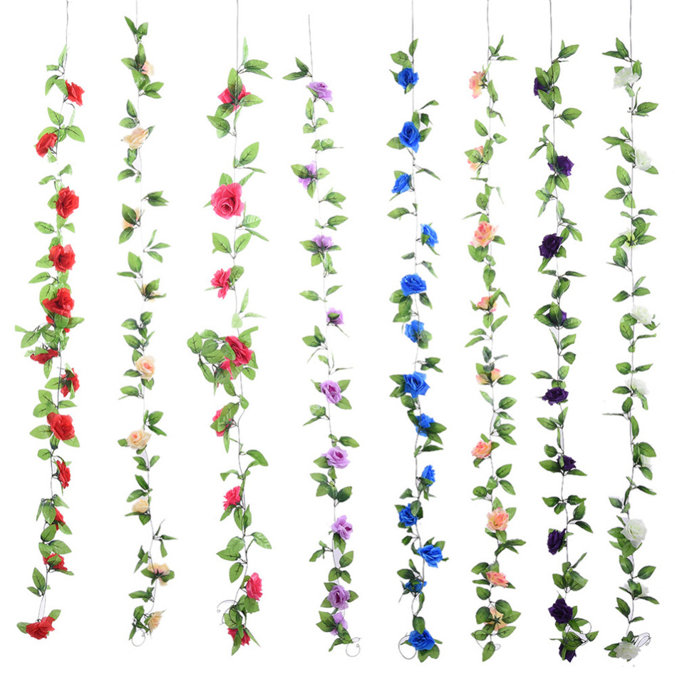 Beautiful Rose Flower Artificial Fake Silk Rose Ivy Vine Hanging Garland Home Wedding Decor party Home Garden Decoration 8 Color