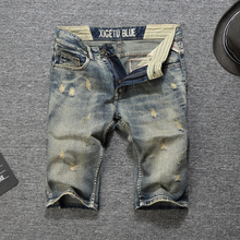 Summer Fashion Men Jeans Shorts Retro Wash Destroyed Ripped Denim Italian Vintage Style Short Homme