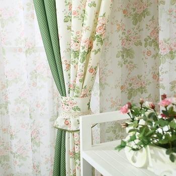 Cortinas opacas de colores con empalme de flores impresas de estilo coreano, cortinas de tela de tul, tratamiento de ventana para dormitorio/sala de estar