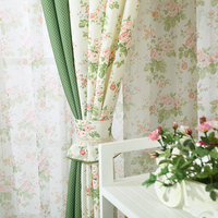 Korean style Printed flower Splice color Decorative Blackout curtains fabric tulle Window Treatment for Bedroom/Living Room