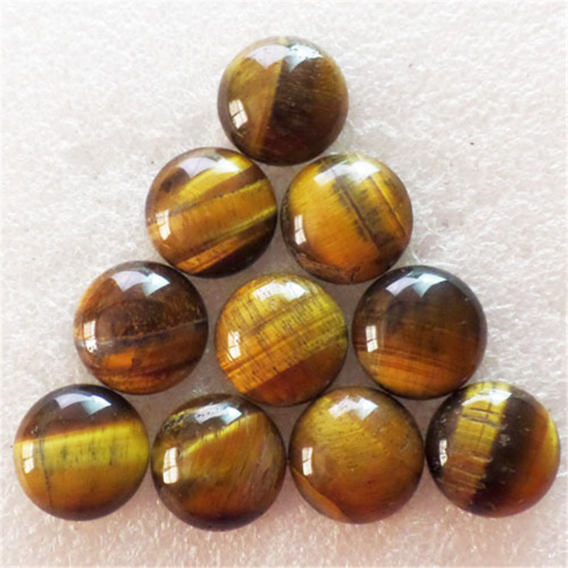 (10 pieces/lot) Wholesale Natural Tiger Eye Gem Round CAB CABOCHON 20x6mm Free Shipping Fashion Jewelry S-268