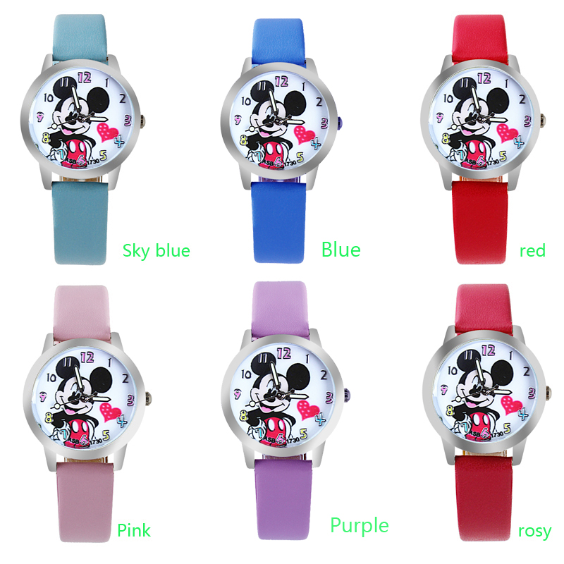 2019 New Cartoon Pattern Beautiful Girl Cartoon Style Boy Color Number Dial Children Students Girl's Leather Quartz Watch Hot