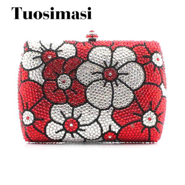 Crystal evening bags clutch women evening bag diamonds red handbags chain shoulder bag for bridal/bridesmaid bag(1015RWF) free shipping 2015 top gifts new bride rhinestone evening bags punk colored acrylic diamonds clutch bag shoulder handbags 0430