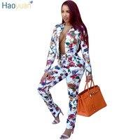 HAOYUAN 2 Piece Set Women Autumn Winter Casual Long Sleeve Cardigan Blazer Coat Tops Pants Outfits