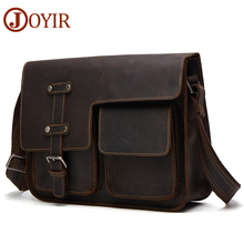 JOYIR Messenger Bag Men's Shoulder Bag Genuine Leather Business Handbag Crazy Horse Male Man Vintage Crossbody Bags Leather недорого