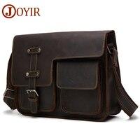 JOYIR Messenger Bag Men's Shoulder Bag Genuine Leather Business Handbag Crazy Horse Male Man Vintage Crossbody Bags Leather