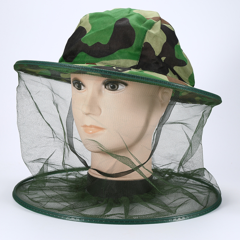 1pc camouflage fishing sunscreen mask yarn hat beekeeping mosquito insect flying cap head net