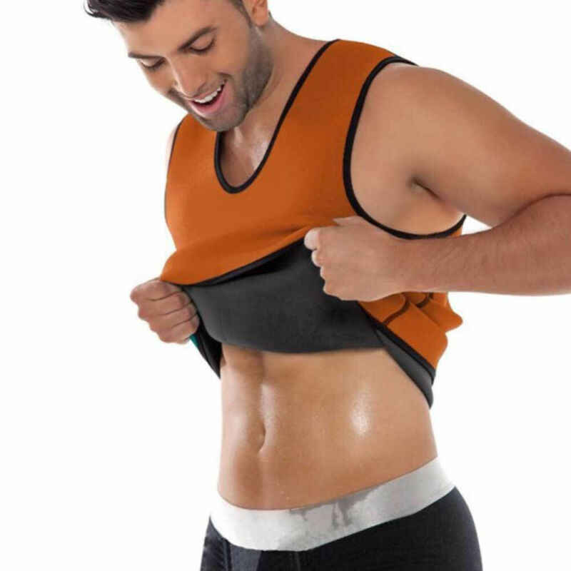 Mannen Taille Trainer Vest Sauna Zweet Lichaam Tank Top Afslanken Trimmer Shirt