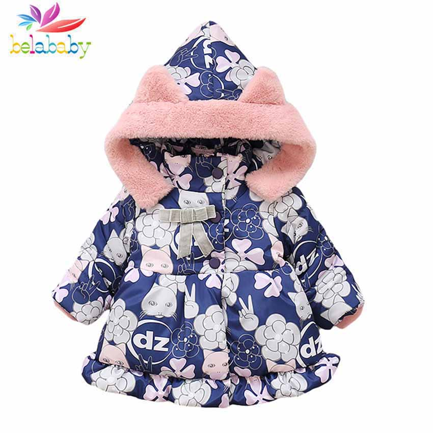 Mother & Kids Benemaker Children Stars Winter Coats For Girl Boy Clothing Warm Cotton-padded Jackets Overalls Hooded Baby Kids Outerwear Jh047