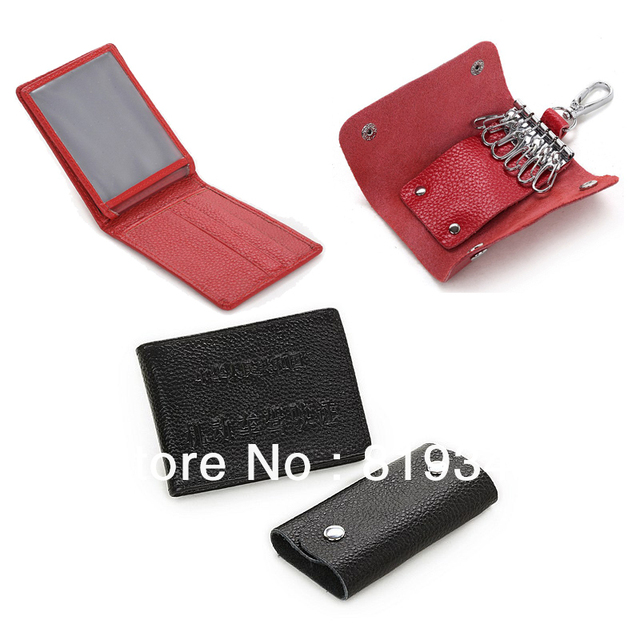 2013 NEW Fashion VANCL Men Carson Leather Wallet & Key Ring Set Full Grain Leather Wallet Suits Black/Red FREE SHIPPING