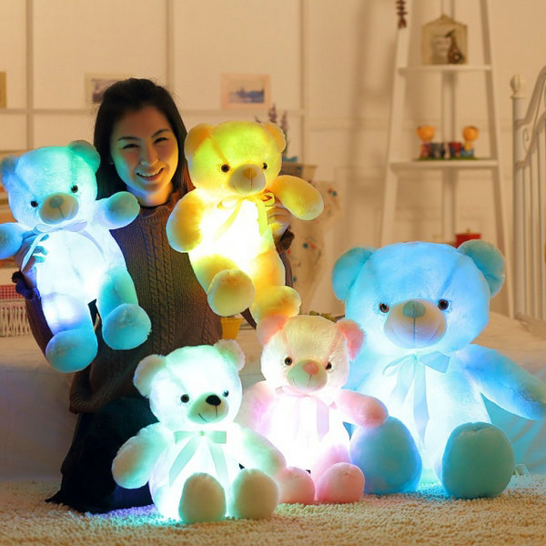 Drop shipping Colorful Glowing Bear Gift for Kids Home Decoration Creative Light Up LED Bear Stuffed Animals Plush Toy кашпо gift n home сирень