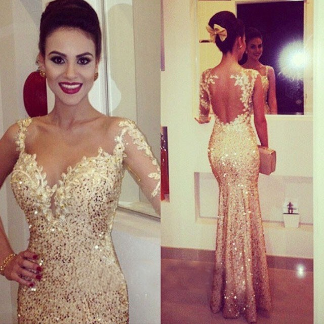 Gold Sequin Evening Dress Bling Bling Mermaid Prom Dress Sweetheart ...