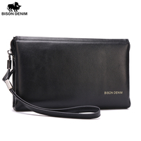 Bison Denim Genuine Cowskin High Quality Men Clutch Men Big Capacity Wrist Strap Wallet Bag
