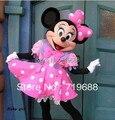 Ventas calientes adult party dress versión minnie traje de la mascota rosada de minnie mouse traje de la mascota envío gratis