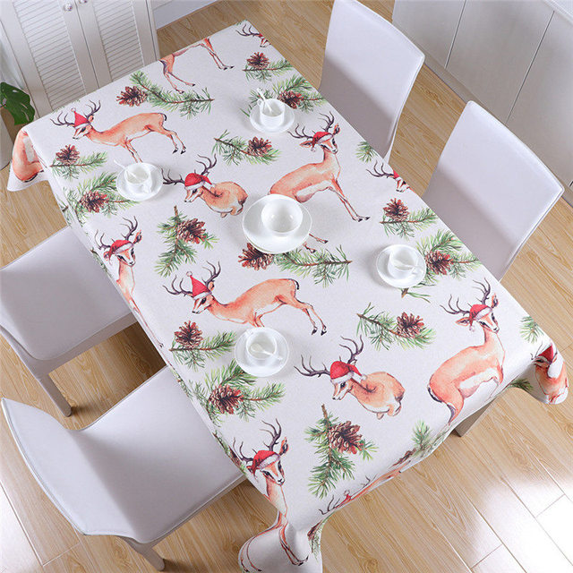 Christmas Tablecloths.Us 21 9 51 Off 140 180cm Christmas Tablecloth Flamingo Elks Printed Decorative Table Cloth 2018 Nordic Waterproof Party Table Cover For Xmas In