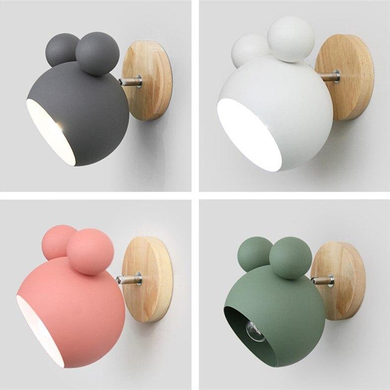 Novelty Creative Led Wall Lamp With Iron Lampshade Wood Lighting Fixture Bedside Kids Room Corridor Nordic Wall Light Luminaire