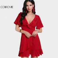 COLROVIE Ruffle Sleeve Wrap A Line Dress 2017 Women Red Frill Trim Sexy Mini Summer Dress