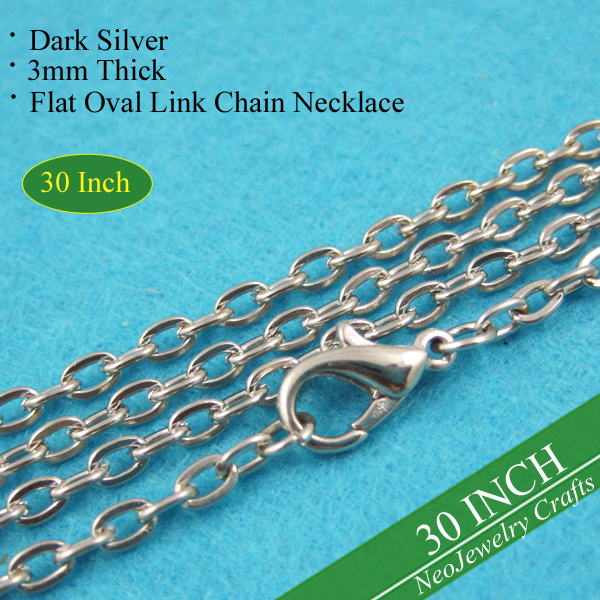 30 Inch Dark Silver Rolo Chain Necklace, 76cm Metal Link Chain Necklace, Antique Silver Cable Chain with Lobster Clasp Connected