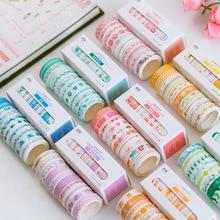 10pcs/lot Leaves Foil Grid Floral Cute Paper Masking Washi Tape Set Japanese Stationery Scrapbooking Supplies