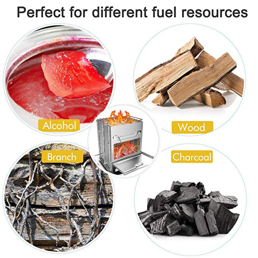 Aço inoxidável quadrado fogão a madeira forno