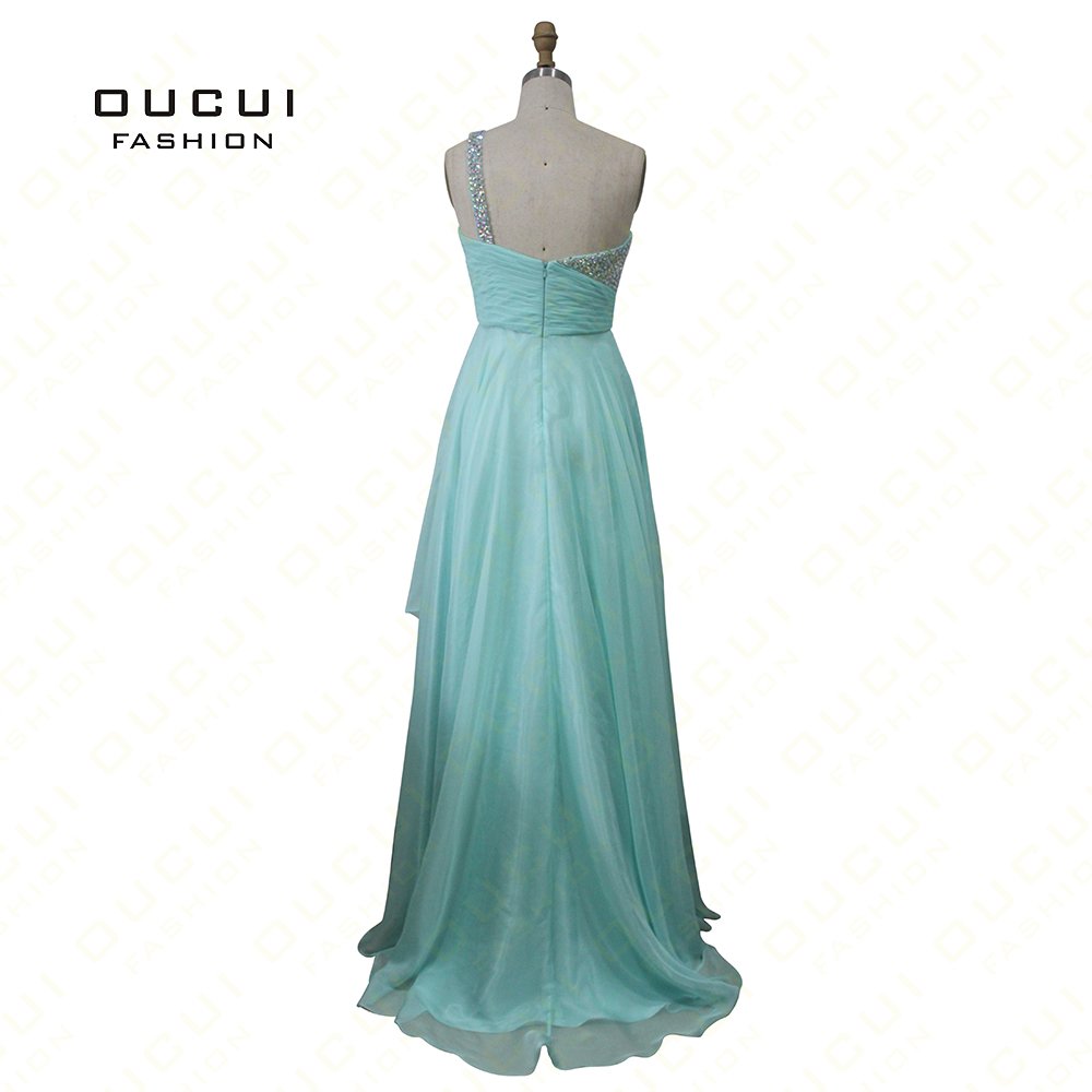 ca3fa53568b4 Oucui Mint Green Prom Dresses One shoulder Handmade Beading Pleat Elegant A Line  Chiffon Dress Cocktail Real Photos OL102013-in Prom Dresses from Weddings  ...