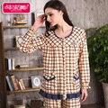 Spring & Autumn Cotton Women Pajama Sets Full Sleeve Geometric Sleep Lounge Pyjama Round Neck Sleepwear Casual Plaid Pijamas
