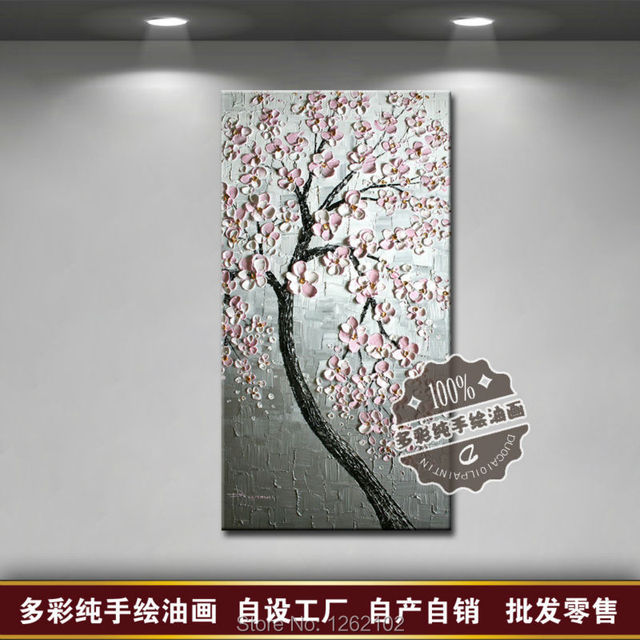 Abstract Modern Home Decor Wall Art Picture Silver Background Light Pink Flower Tree Thick Knife Oil Painting On Canvas