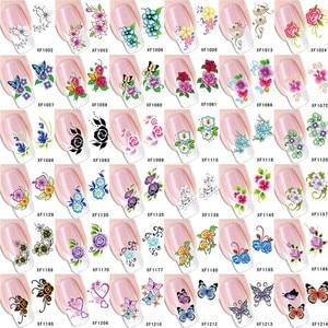 1 pcs Flowers Nail Stickers Succulent plants Water Decal Ocean Cat Pattern 3D Manicure Sticker Nail Art Decoration m2t01