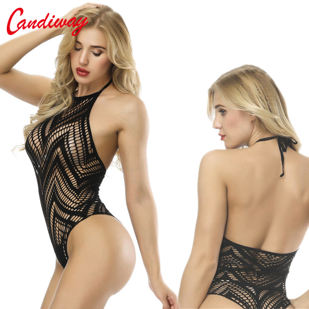 Sexy Teddy Bodysuit Babydolls Corsets Costume Erotic Lingerie Bustiers Crotchless Halterneck Bodystocking Sex Fishnet Clothes