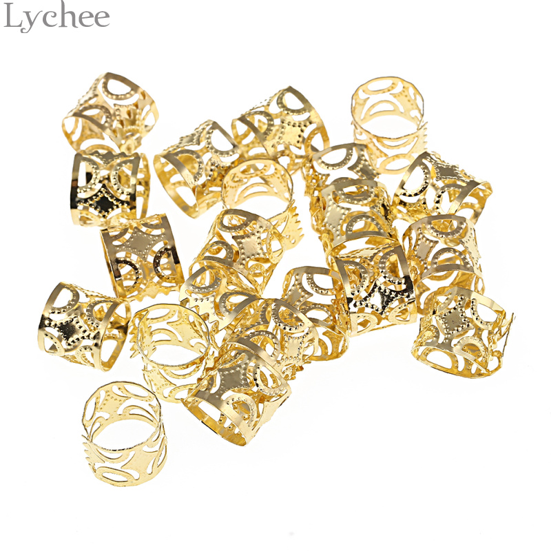 Lychee 20pcs Hip Hop Alloy Hollow Hair Braid Dread Dreadlock Beads Clips Cuff Gold Color ...