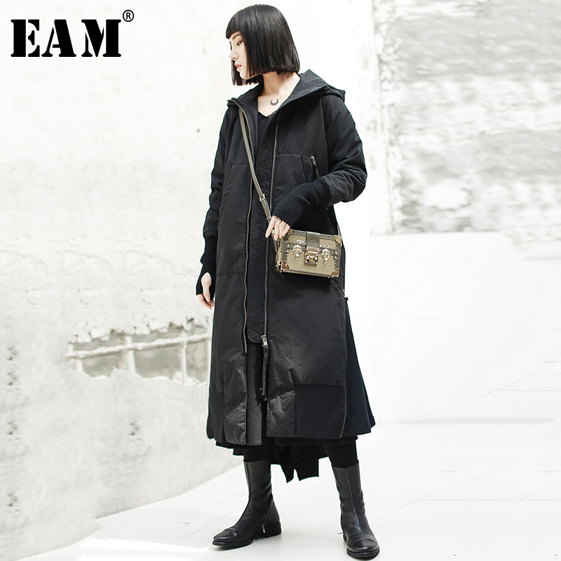 EAM 2019 New Spring Hooded Long Sleeve Black Loose Long Hem Vent Cotton padded Coat