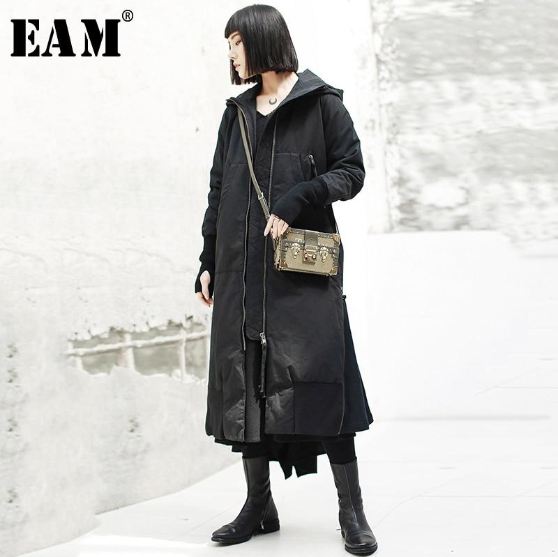 [EAM] 2019 New Spring Hooded Long Sleeve Black Loose Long Hem Vent Cotton-padded Coat Women   Parkas   Fashion Tide JK131