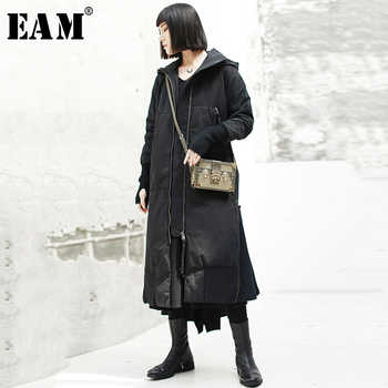 [EAM] 2020 New Spring Hooded Long Sleeve Black Loose Long Hem Vent Cotton-padded Coat Women Parkas Fashion Tide JK131 - DISCOUNT ITEM  32 OFF Women\'s Clothing