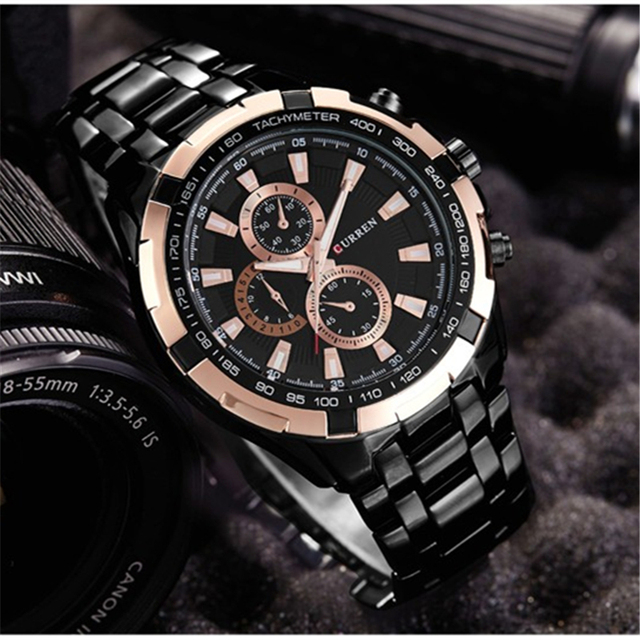 שעון קלאסי רצועת מתכת לגברים 8