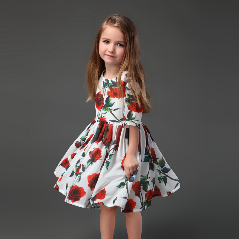 Brand family look chiffon red rose flower children clothing baby girls beach dress mother daughter matching mom and kids dresses 2016 family matching ourfit paternity vacation holiday beach dress chiffon skirt mother daughter lady girls short sleeve dresses