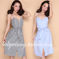 FREE SHIPPING 2016 Summer New Vintage All Match Comfortable Single Breasted Blue Black Striped Sleeveless Strap Women Dress